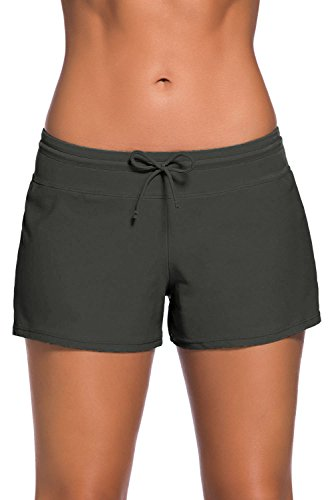 FIYOTE Women Solids Simply Solid Casual Board Watershorts Tides Short A Gray XL