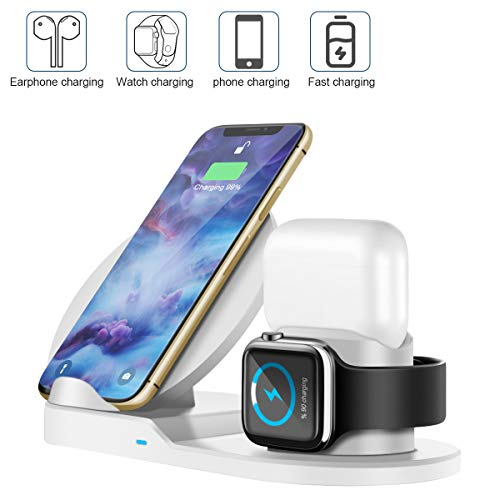2020 Wireless Charger, 3 in 1 Qi 10W Wireless Charging Stand Compatible for Apple iWatch 1/2/3/4, Airpods, iPhone 11/11 Pro Max/X/XS Max/8, Phone Charger Station(White)