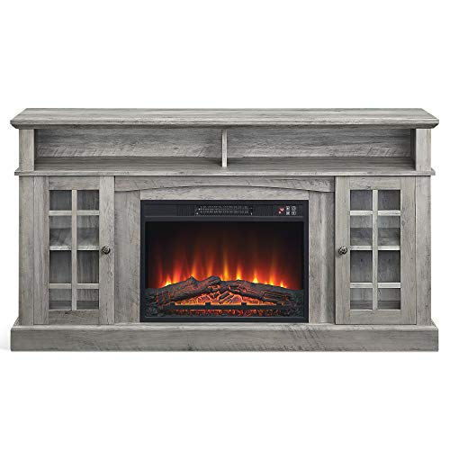 BELLEZE Fireplace TV Stand with Remote Control Console Media Shelves for TVs up to 65', Grey Wash