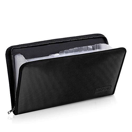 Expanding File Folder Document Organizer Fireproof Money Bag A5 Size 13 Pockets Zipper Closure Portable Filing Wallet Holder Storage for Check,Bill,Receipts,Tickets(11.4' x 6.3')