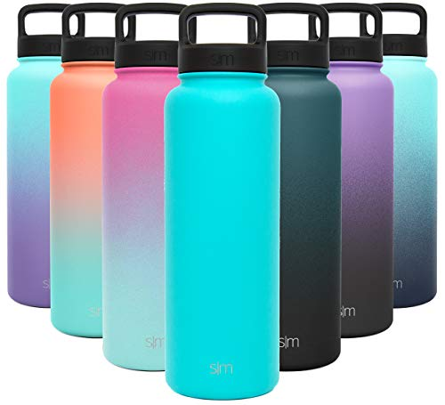 Simple Modern Water Bottle Reusable Summit Wide Mouth Stainless Steel Thermos Flask, 40oz Handle Lid, Caribbean