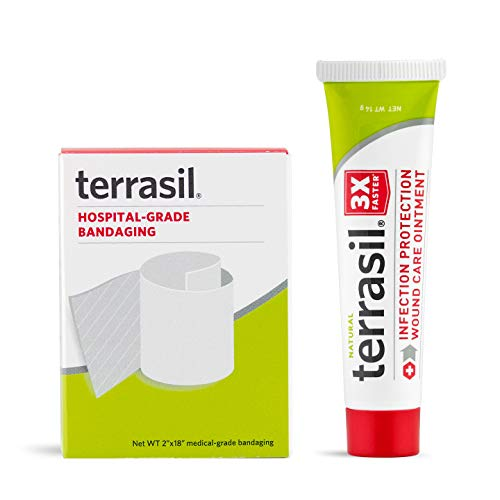 Terrasil Wound Care Tube & Medical Grade Bandage Kit - 3X Faster Healing Infection Protection for Bed & Pressure Sores Diabetic Wounds Foot & Leg Ulcers Cuts Scrapes Burns - 14gm tube and Bandaging