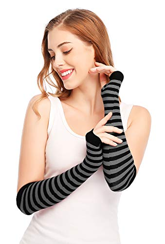 Punk Gothic Rock Long Arm Warmer Fingerless Gloves, Black Grey