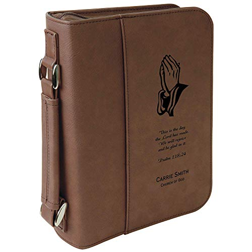 Custom Bible Cover   Praying Hands Psalms Scripture  Personalized Bible Cover (Brown)