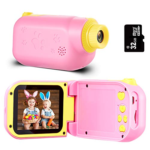 Engpure Kids Camera, Kids Video Camcorder 1080P 2.4 inch IPS Screen Camera Toys for 3-10 Years HD Children Videos Recorder for Boys Girls Toys, with 32GB Micro SD Card (Pink)