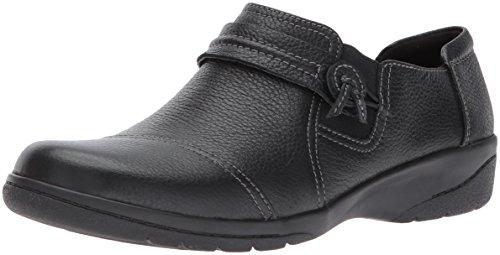 Clarks Women's Cheyn Madi Loafer, Black Tumbled Leather, 8.5 W US