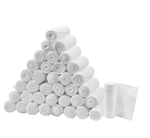 FlexTrek Premium 36-Pack 3 Inch Conforming Stretch Gauze Bandage Rolls - Latex Free - 3' x 4.1 Yards Stretched.