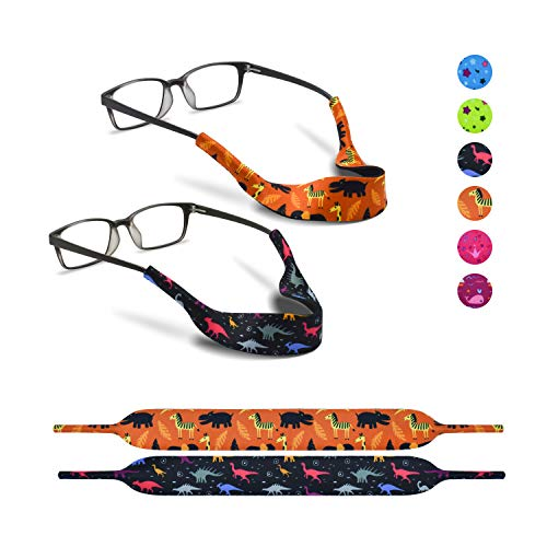 2 Eyeglass Strap for Kids by SQV - Elastic Neoprene Lanyard Sports Safety Eye Glasses Cord Holder, Children No-Tail Adjustable Glass Retainers for Boys, Girls, Baby (3-10 Years Old, Wild Animals)