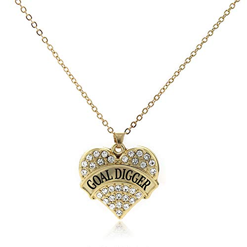 Inspired Silver - Goal Digger Charm Necklace for Women - Gold Pave Heart Charm 18 Inch Necklace with Cubic Zirconia Jewelry