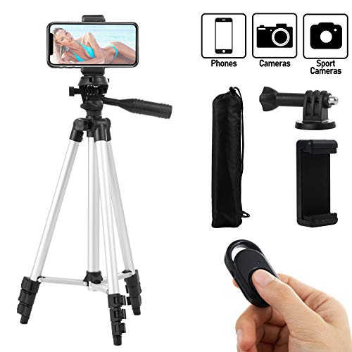 Coching Phone Tripod, 51 Inch 130cm Aluminum Lightweight Tripod for iPhone/Cellphone, Camera and GoPro, Quick Release Plate, Bluetooth Remote Control, Phone Clip and Gopro Mount, Carrying Bag (Silver)