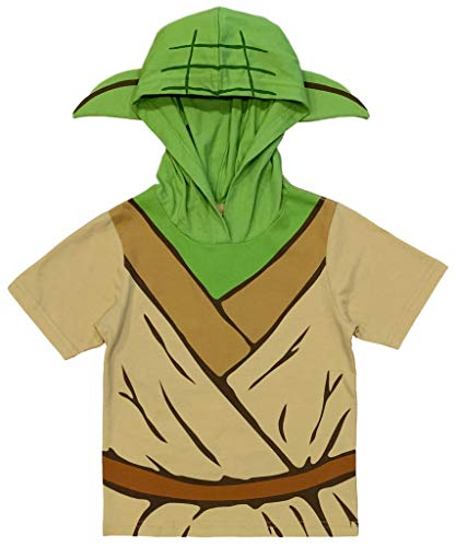 Star Wars Little Boys' Yoda Hooded Tee with Ears (7) Green