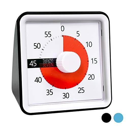 Countdown Timer 3 inch; 60 Minute 1 hour Visual Timer - Classroom Teaching Tool Office Meeting, Countdown Clock for Kids Exam Time Management - Black