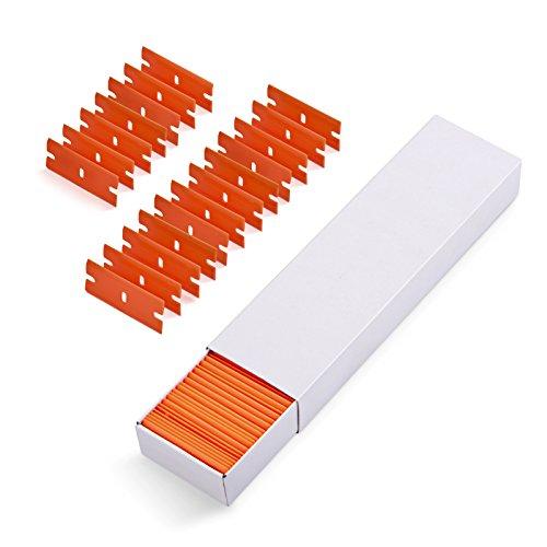 Ehdis Car Sticker Remover 100 PCS Plastic Razor Blades Edges for Plastic Blade Triumph 1.5' Scraper, Wipe off Label Glue Residue on Soft Surface No Scratched
