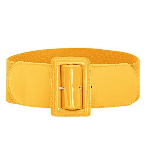 GRACE KARIN Women's Wide Patent Leather Buckle High Waist Fashion Belt Yellow M