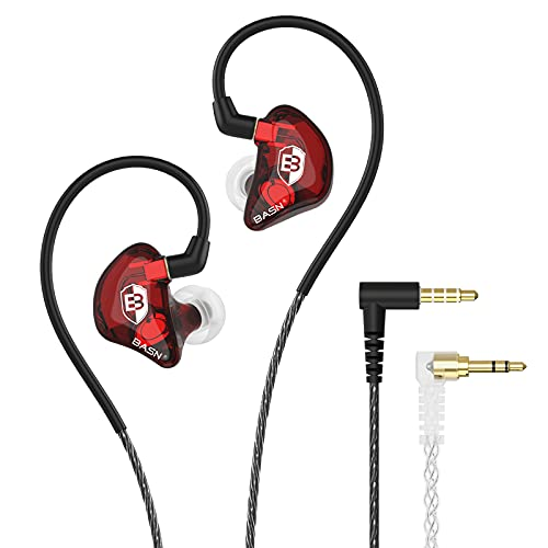 BASN Bsinger LUX in Ear Monitor Headphones with Upgraded Silver-Plated Wire Noise Cancelling Earphones for Musicians Audio Engineers Drummers (Red)