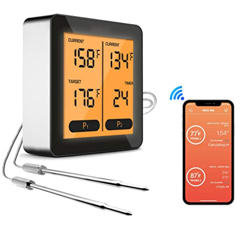Utrent Bluetooth Remote Wireless Meat BBQ Thermometer for Grilling Smoker Oven Turkey Frying Smart App Cooking Thermometer with Dual Probes, LCD Backlight, Timer Alarm, 150 feet Range for iOS, Android