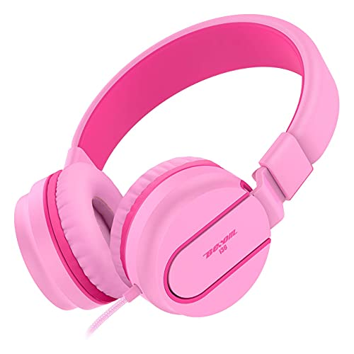Besom i36 Kids Headphones for Children with Mic Control,Stereo Adjustable Foldable Headset, Tangle-Free Cord,3.5mm Audio Jack Wired On-Ear Headphones for Children,Teens,Girls,Boys,Adults (Pink red)
