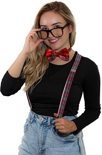 Suspender Bowtie Nerd Clear Glasses Nerd Costume Halloween (Red Plaid)