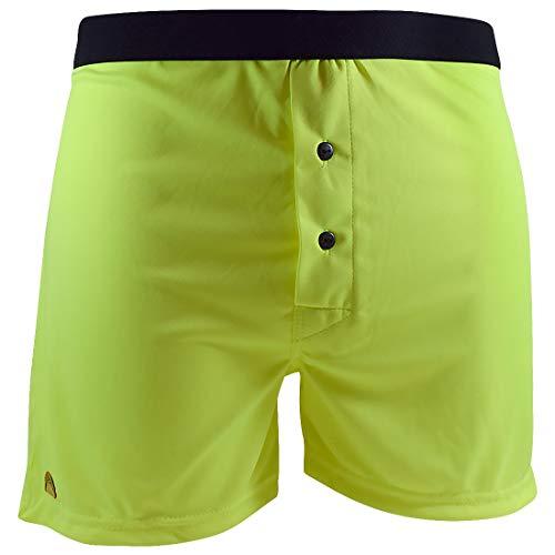 Santa Playa Signature SP Super Soft Breathable Boxer Shorts, Fun Print Men's Underwear :: Neon Green Solid (M, Green)