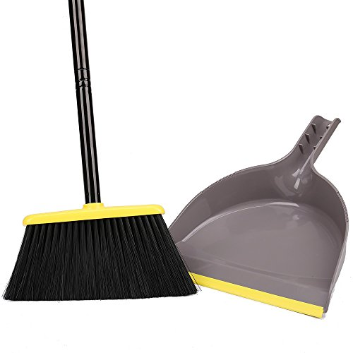 Broom and Dustpan Set,Indoor Broom with Dust pan Combo Set for Home,Angle Kitchen Broom for Floor Sweeping