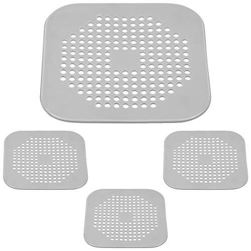 4 Pieces Hair Catcher 5.7 Inch Flat Silicone Plug Hair Catcher Square Drain Protector Shower Drain Covers Sink Strainer Stopper with Suction Cups Easy to Install and Clean for Bathroom Kitchen (Gray)