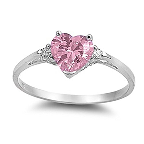 Sac Silver  Sterling Silver Pink Simulated CZ  Heart Promise Ring, 5