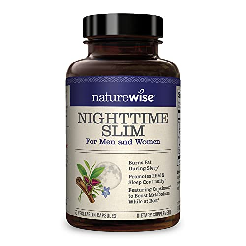 NatureWise Nighttime Slim with Capsimax | Burn 116 Calorie While You Sleep | Promotes a Restful Sleep, Burns Fat, Reduces Hunger | Non-GMO, Vegetarian, Gluten Free [1 Month Supply - 60 Count]