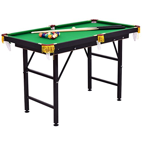 Costzon 47' Folding Billiard Table, Pool Game Table Includes Balls, Cues, Triangle, Chalk, Brush for Kids, Multipurpose Game Table for Parties & Family Gatherings (Black & Green)