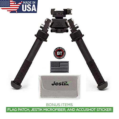 Accu-Shot Atlas Bipod BT10-LW17 with ADM 170-S Lever Plus USA Flag Patch and Jestik Microfiber Cleaning Cloth