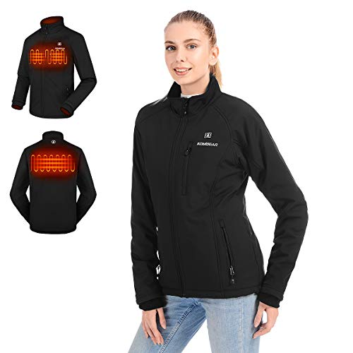 CLIMIX Women's Heated Jacket, Lightweight Water Resistant Slim Fit Jacket with Battery Pack Black
