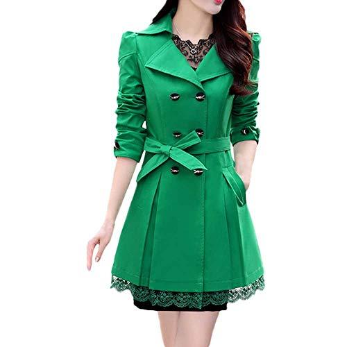 WOCACHI Women Coats Plus Size, Women's Wool Coat Double-Breasted Pea Coat Lapel Trench Coat Outwear Green