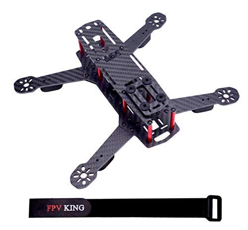 FPVKing 250mm FPV Racing Drone Frame Carbon Fiber Quadcopter Frame for QAV250 + 25cm Lipo Battery Strap