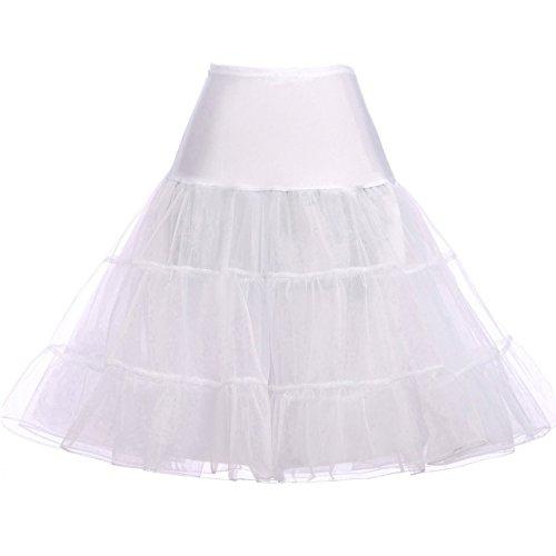 GRACE KARIN Vintage Womens 50s Rockabilly Tutu Skirt Petticoat WhiteSize M