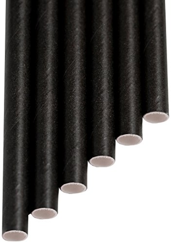 Aardvark Straws 61520099 Paper Drinking Straw, Unwrapped and Jumbo, 7.750' Long, Solid Jet Black (Pack of 4800)