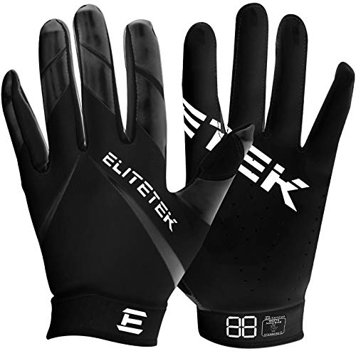 Kids EliteTek RG-14 Super Tight Fitting Football Gloves - Youth Sizes - Easy Slip On Design No Wrist Strap (Black, Youth S)