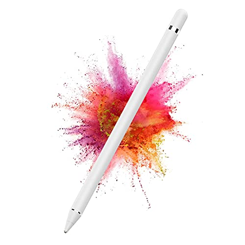 DOGAIN Active Stylus Pen for Android,iOS, iPad/iPad 2/New iPad 3/iPad4/iPad Pro/iPad Mini/iPad Mini 2/3 /4 and Most Tablet,1.5mm Fine Point Rechargeable Digital Stylus Pen(White)