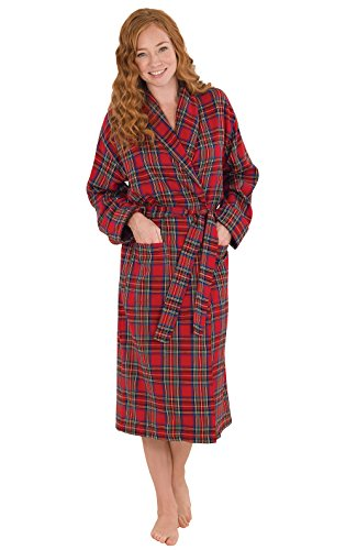 PajamaGram Cotton Flannel Robe Womens - Soft Yarn Dyed Plaid, Red, XS/S, 2-6