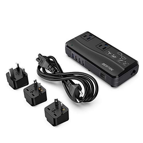 [Pure Sine Wave] BESTEK Power Converter for International Travel, 220V to 110V Voltage Converter Adapter - Works for Curling Iron Overseas in European/UK/Ireland/Australia and More - 6A USB W/QC3.0