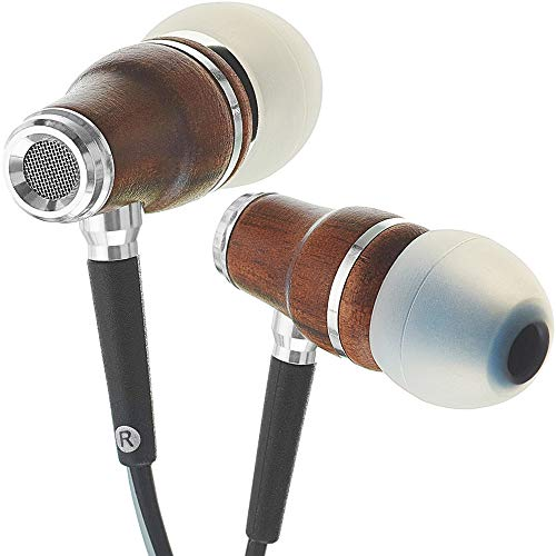 Symphonized NRG 3.0 Wood Earbuds Wired, In Ear Headphones with Microphone for Computer & Laptop, Ear Phones for Android with Stereo Sound (Black & Gray)