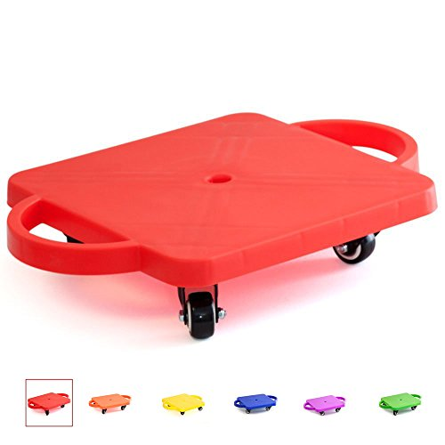 GSE Games & Sports Expert Gym Plastic Scooter Board with Handles (6 Colors Available) (Red)