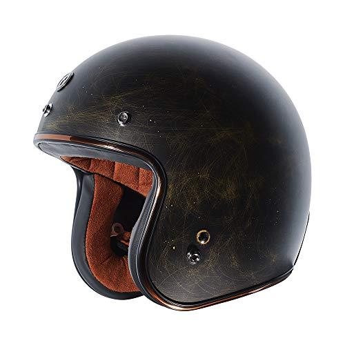 TORC Unisex-Adult Open Face Motorcycle Helmet (Flat Black Weathered Bronze, X-Large)