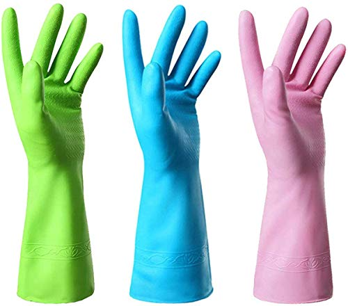 Mulfei Cleaning Gloves-3 Pairs Kitchen Gloves Dishwashing Rubber Gloves Reusable,Latex Free and Fit Your Hands Well-Including Green Pink and Blue,Size Large