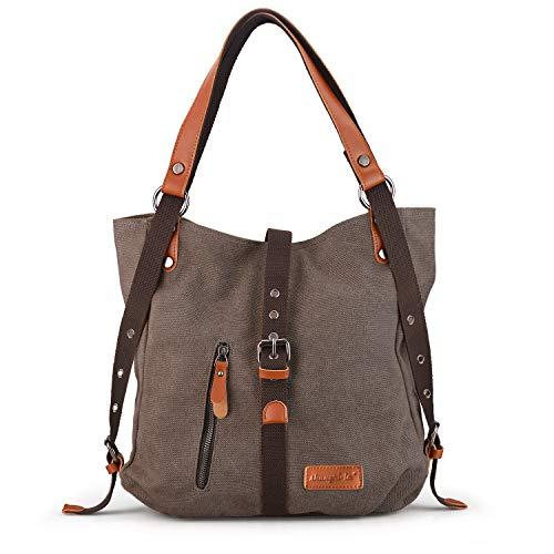 SHANGRI-LA Purse Handbag for Women Canvas Tote Hobo Bag Casual Shoulder School Bag Rucksack Convertible Backpack - Coffee