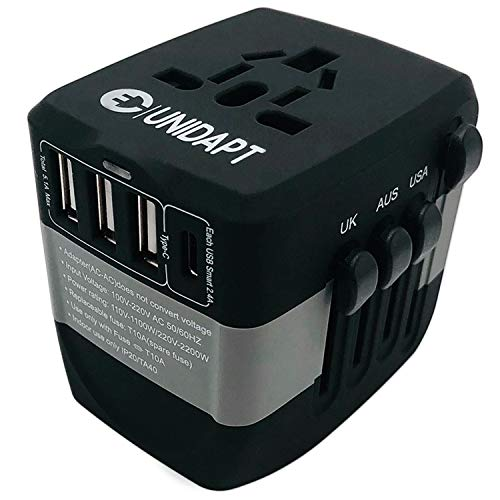 Germany France Power Adapter - Unidapt International Charger, 2400W High Power Travel Plug Adapter, 3-USB Charging Ports & Type C - Use with Blow Dryer, Hair Dryer, Curling Iron in over 170 Countries