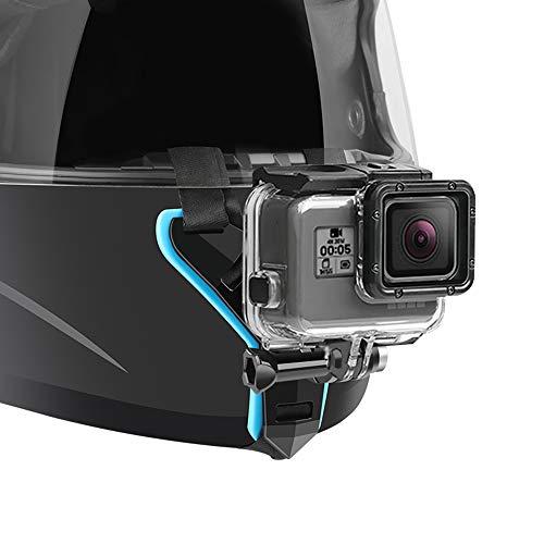 Motorcycle Helmet Chin Strap Mount for GoPro Hero 9, 8, 7, (2018), 6 5 4 3, Hero Black, Session, Xiaomi Yi, SJCAM (Blue)