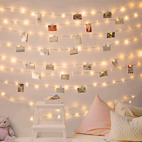 Photo Clip String Lights 33Ft 100 LEDs Fairy String Lights Battery Operated with 60 Clear Clips for Hanging Pictures with Timer and 8 Lighting Modes (Warm White)