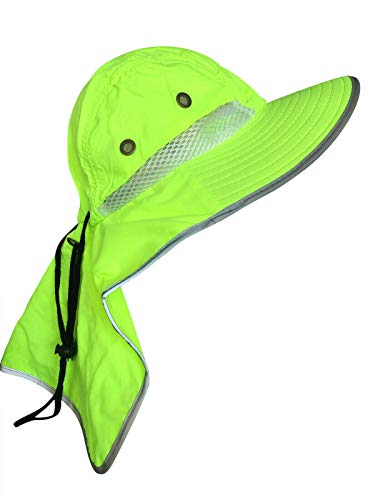 Men High Visibility Sun Hat with Neck Flap Wide Brim Boonie Hat Bucket Cap Packable Adjustable (Neon Lime)