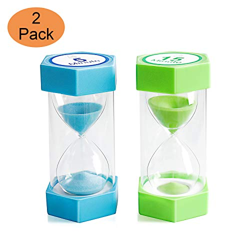 Sand Timer,XINBAOHONG Hourglass Sand Timer 5 Minutes 15 Minutes Timer Clock for Kids Games Classroom Home Office Kitchen Use (Pack of 2) (4.7''X 2.3'', 5 Min(Blue) and 15 Min(Green))