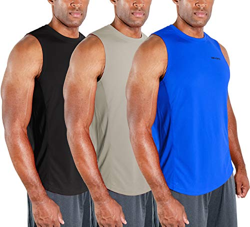 DEVOPS 3 Pack Men's Muscle Shirts Sleeveless Dri Fit Gym Workout Tank Top (Large, Black/Blue/Gray)