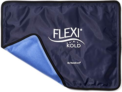 FlexiKold Gel Ice Pack w/Straps (Standard Large: 10.5' x 14.5') - Reusable Cold Pack Compress (Therapy for Pain, Injuries of Knee, Shoulder, Foot, Back, Ankle, Neck, Hip, Elbow) - 6300 Cold-Strap